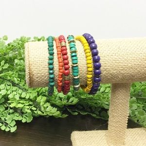 colorful wooden beaded stretch bracelets lot 6